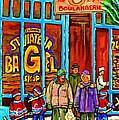 A Stroll After The Hockey Game St Viateur Bagel Montreal Winter Street Carole Spandau by Carole Spandau