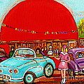 A Sunny Day At The Big Oj- Paintings Of Orange Julep-server On Roller Blades-carole Spandau by Carole Spandau