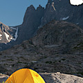 A Tent Is Dwarfed By The High Peaks by Jeff Diener