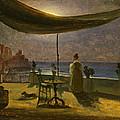 A Terrace In Amalfi In Moonlight by Thomas Fearnley