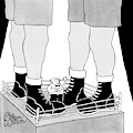A Tiny Emcee In A Boxing Ring Is Seen Standing by Gahan Wilson