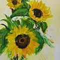 A Trio Of Sunflowers by Wendy Le Ber