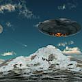 A Ufo Flying Over A Mountain Range by Mark Stevenson