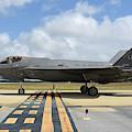 A U.s. Air Force F-35a Taxiing At Eglin by Riccardo Niccoli