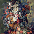 A Vase Of Flowers With Fruit by Jacob van Huysum