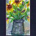 A Vase Of Rudbeckia  by Debbie Wassmann