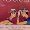 A Vogue Cover Of Models Wearing Lilly Dache Hats by Richard Rutledge