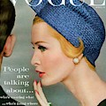 A Vogue Cover Of Sarah Thom Wearing A Blue Hat by Richard Rutledge