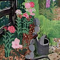 A Watering Can And A Shovel By A Flower Bed by Witold Gordon