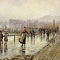 A Wet Day In Whitby Wc On Paper by Percy Robertson