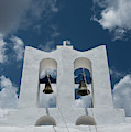 A Whitewashed Bell Tower And Dramatic by Ellen Rooney