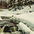 A Winter Landscape With A Mountain Torrent by Peder Monsted
