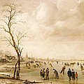 A Winter Landscape With Townsfolk Skating And Playing Kolf On A Frozen River by Aert van der Neer