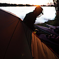 A Woman Exits The Tent At Sunset by Krystle Wright