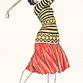 A Woman In Full Swing Playing Golf by French School