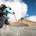 A Woman Is Crossing A River, Spiti by Andrew Peacock