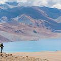 A Woman Is Hiking Toward Tsomoriri by Andrew Peacock