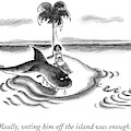 A Woman Is Seen On A Deserted Island With A Shark by Frank Cotham