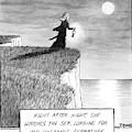 A Woman Runs In The Dark Toward A Cliff by Matthew Diffee