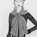 A Woman Wearing A Mainbocher Scarf by Douglas Pollard