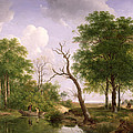 A Wooded River Landscape With Sportsmen In A Rowing Boat by Andreas Schelfhout