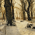 A Wooded Winter Landscape With Deer by Peder Monsted