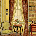 A Yellow Library With A Vase Of Flowers by Harry Richardson