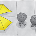 A Yellow Umbrella With A Pacman Mouth by Christian Lowe