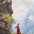 A Young Girl By A Fjord by Hans Andreas Dahl