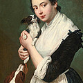 A Young Lady With Two Dogs by Giacomo Ceruti