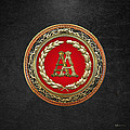 Aa Initials - Gold Antique Monogram On Black Leather by Serge Averbukh