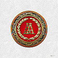 Aa Initials - Gold Antique Monogram On White Leather by Serge Averbukh