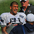 Aaron Hernandez With Patriots Coaches by Mike Martin