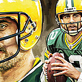 Aaron Rodgers Green Bay Packers Quarterback Artwork by Sheraz A