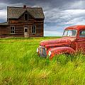 Abandoned Homestead House And Red by Gemstone Images