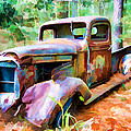 Abandoned Truck Faux Painting by Bill Barber