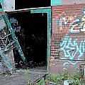 Abandoned Warehouse W Blue Door by Anita Burgermeister