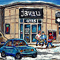 Montreal Art Exhibit At Java U Carole Spandau Montreal Street Scenes Paintings Hockey Art  by Carole Spandau