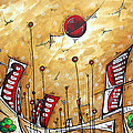 Abstract Art Cityscape Original Painting The Garden City By Madart by Megan Duncanson