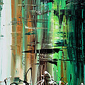 Abstract Art Colorful Original Painting Green Valley By Madart by Megan Duncanson
