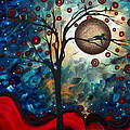 Abstract Art Contemporary Cat Bird Circle Of Life Collection Cat Perch By Madart by Megan Duncanson