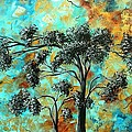 Abstract Art Landscape Metallic Gold Textured Painting Spring Blooms II By Madart by Megan Duncanson