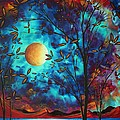 Abstract Art Landscape Tree Blossoms Sea Moon Painting Visionary Delight By Madart by Megan Duncanson