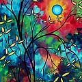 Abstract Art Landscape Tree Blossoms Sea Painting Under The Light Of The Moon II By Madart by Megan Duncanson
