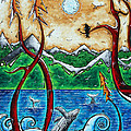 Abstract Art Original Alaskan Wilderness Landscape Painting Land Of The Free By Madart by Megan Duncanson