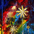 Abstract Art Original Daisy Flower Painting Visual Feast By Madart by Megan Duncanson