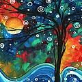 Abstract Art Original Landscape Colorful Painting First Snow Fall By Madart by Megan Duncanson