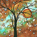 Abstract Art Original Landscape Painting Bold Circle Of Life Design Autumns Eve By Madart by Megan Duncanson