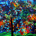 Abstract Art Original Landscape Painting Bold Colorful Design Shimmer In The Sky By Madart by Megan Duncanson