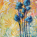Abstract Art Original Landscape Painting Contemporary Design Blue Trees II By Madart by Megan Duncanson